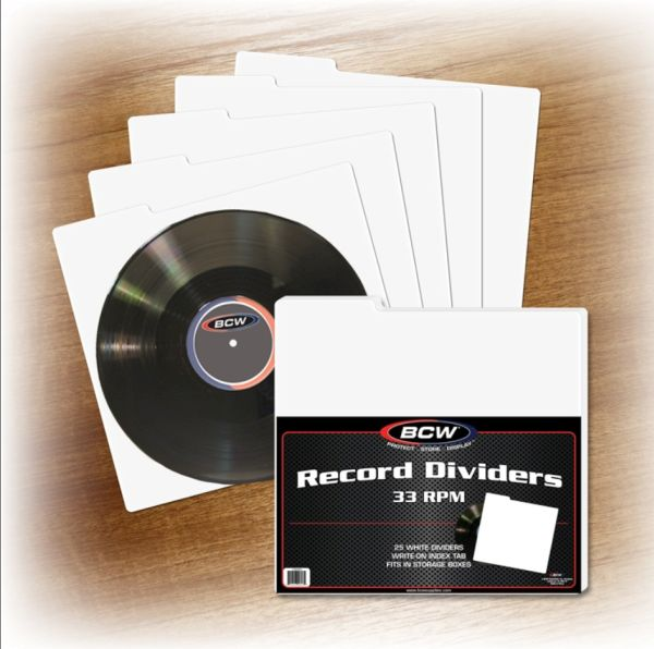 pack of 25 bcw 33rpm lp record album tabbed white storage box dividers ebay. Black Bedroom Furniture Sets. Home Design Ideas