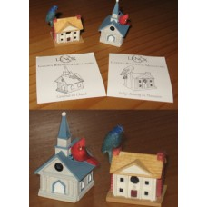 Case of 36 - 2-Piece Sets - Lenox Garden Birdhouse Miniatures