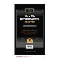 Pack of 50 CBG 14x24 Newspaper 2 Mil Clear Archival Poly Sleeves
