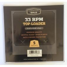 Pack of 5 CBG 33RPM Record Album Hard Plastic Topload Holders