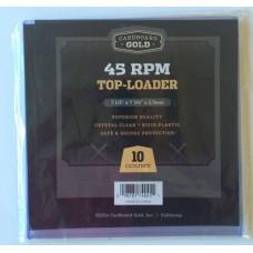 Pack of 10 CBG 45RPM Record Single Hard Plastic Topload Holders