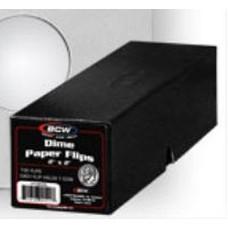 100 BCW 2X2 Dime Size Cardboard Coin Flips + Black Storage Box
