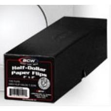 100 BCW 2X2 Half Dollar Cardboard Coin Flips + Black Storage Box