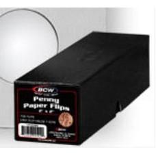 100 BCW 2X2 Penny Size Cardboard Coin Flips + Black Storage Box