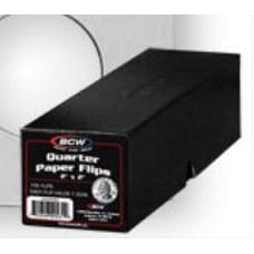 100 BCW 2X2 Quarter Size Cardboard Coin Flips +Black Storage Box