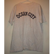 New Gray Large Ocean City T-Shirt With Chest Logo