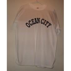 New White Large Ocean City T-Shirt With Chest Logo