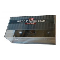 BallQube Triple Play Baseball Holder 3 Ball Clear Plastic Black Base Display Box