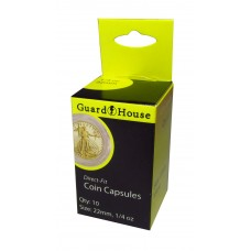 10 Pack Guardhouse 22mm 1/4 oz Gold Eagle Round Direct Fit Coin Capsules holders