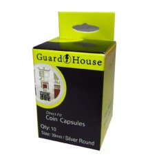 10 Pack Guardhouse 39mm Silver Medallion Round Direct Fit Coin Capsules holders