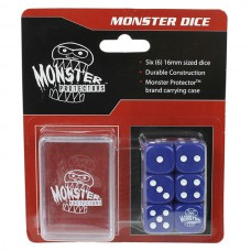 Pack of 6 Monster Protectors Blue 16mm Six Sided Gaming Dice with Carrying Box