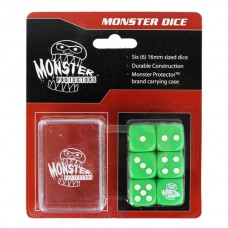 Pack of 6 Monster Protectors Green 16mm Six Sided Gaming Dice with Carrying Box