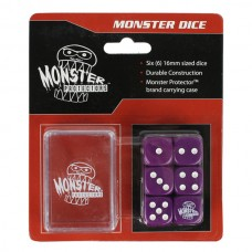 Pack of 6 Monster Protectors Purple 16mm Six Sided Gaming Dice with Carrying Box