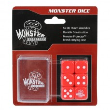 Pack of 6 Monster Protectors Red 16mm Six Sided Gaming Dice with Carrying Box
