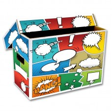 10 BCW Short Cardboard Comic Book Storage Boxes with Pow Art Design box