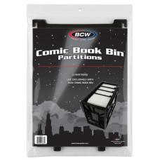 Pack of 3 BCW Black Plastic Short Comic Book Bin Partitions dividers spacers