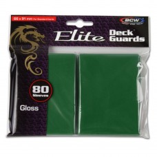 Pack of 80 BCW Green Glossy Elite Deck Guard CCG Gaming Card Protective Sleeves