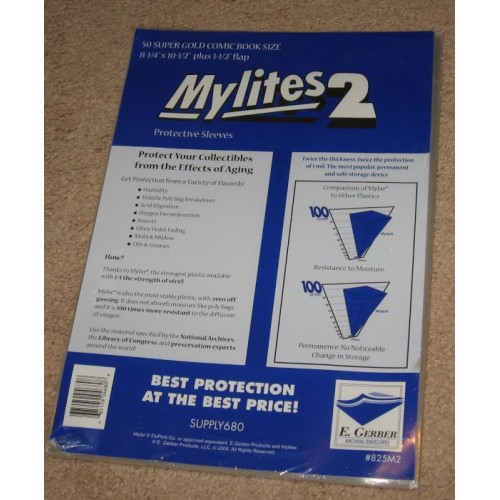 Pack 50 Mylites 2 Mil Mylar Thick Golden Age Comic Book Bags 8 25x10