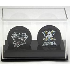 BCW Deluxe Acrylic Black Base Double Hockey Puck Display Holder