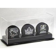 BCW Deluxe Acrylic Black Base Triple Hockey Puck Display Holder