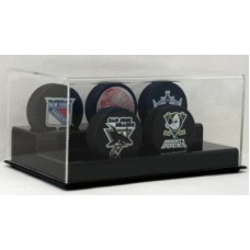 BCW Deluxe Acrylic Black Base 5 Hockey Puck Display Holder