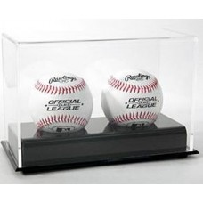 BCW Deluxe Acrylic Black Base Double Baseball Display Case