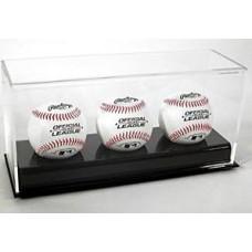 BCW Deluxe Acrylic Black Base Triple Baseball Display Case