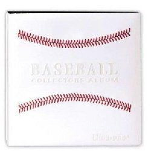 "BCW 3"" Baseball Trading Card Album White W/ Red Stitches"