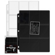 Pack of 10 BCW Vinyl Double 9-Pocket Card Album Pages - Black