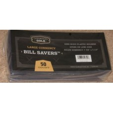 Pack of 50 CBG Bill Saver Semi Rigid Large US Currency Holders