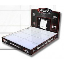 Box of 100 BCW Pro 8 Pocket Trading Card / Coupon Album Pages