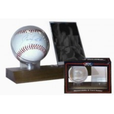 BCW Real Walnut Wood Base Baseball and Card Holder