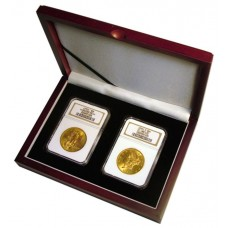 Universal Wooden Double Graded Coin Slab Presentation Box