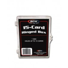 Case / 100 BCW 15 Ct Hinged Plastic Trading Card Boxes