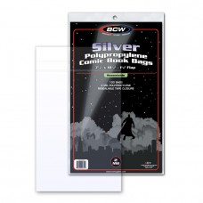 Pack of 100 BCW Resealable Silver Comic Archival Poly Bags - 7 1/8 x 10 1/2