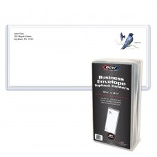 Pack of 25 BCW Size 10 Business Envelope Hard Plastic Clear Topload Holders