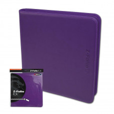 BCW Purple Gaming Card Z-Folio Zippered LX Leatherette Album with 12 Pocket Pages