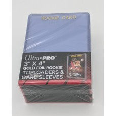 Pack of 25 Ultra Pro 3x4 Gold Foil Rookie Card Topload Holders with Sleeves