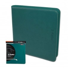 BCW Teal Gaming Card Z-Folio Zippered LX Leatherette Album with 12 Pocket Pages