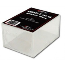One New BCW 100 Count Trading Card Plastic Slider Box
