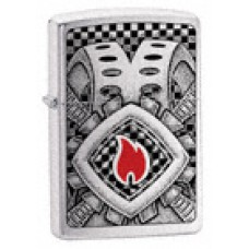 Brushed Chrome Zippo Lighter 20793 Domino Disaster