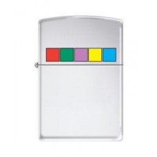 High Polished Chrome Zippo Lighter Stained Glass Squares