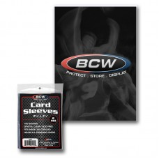 Pack of 100 BCW Soft Poly Trading Card Sleeves - 2 5/8 x 3 5/8