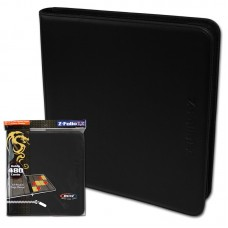 BCW Black Gaming Card Z-Folio Zippered LX Leatherette Album with 12 Pocket Pages