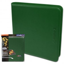 BCW Green Gaming Card Z-Folio Zippered LX Leatherette Album with 12 Pocket Pages