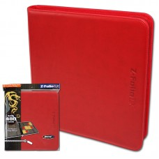 BCW Red Gaming Card Z-Folio Zippered LX Leatherette Album with 12 Pocket Pages
