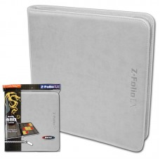 BCW White Gaming Card Z-Folio Zippered LX Leatherette Album with 12 Pocket Pages