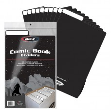 Pack of 25 BCW Black Plastic Comic Book Dividers with Folding Write On Tab