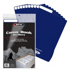 Pack of 25 BCW Blue Plastic Comic Book Dividers with Folding Write On Tab