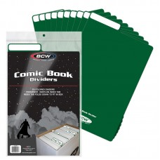 Pack of 25 BCW Green Plastic Comic Book Dividers with Folding Write On Tab